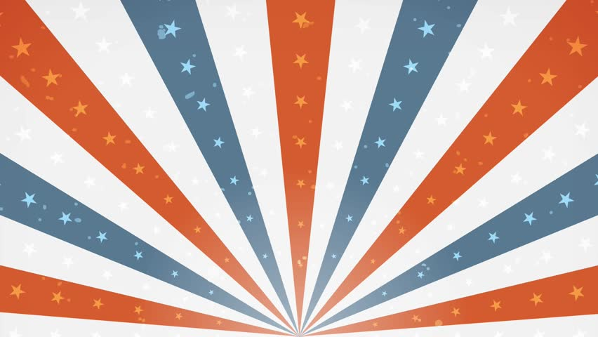 American Fourth Of July Background Rotation Loop/ Animation of an abstract vintage and retro american patriotic background, with sunbeams, stars and stripes for independence day celebration