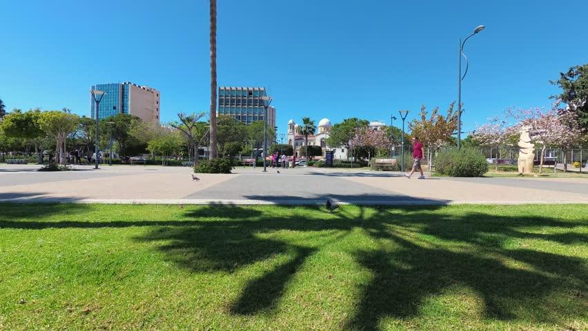 LIMASSOL, CYPRUS - APRIL 05, 2018: Promenade alley in Molos area