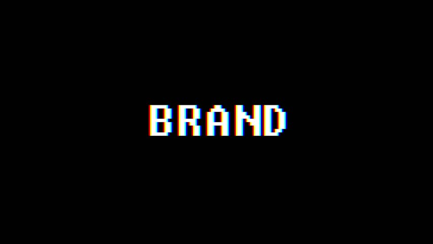 Retro videogame BRAND word text computer old tv glitch interference noise screen animation seamless loop New quality universal vintage motion dynamic animated background colorful joyful video m   Shutterstock HD Video #1010004104