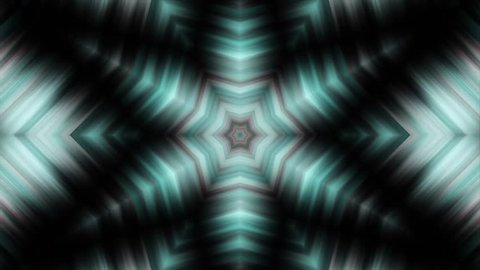 Kaleidoscopes background with animated glowing neon colorful lines and geometric shapes. Psychedelic clip showing the formation of colorful white, red and blue shapes and lines