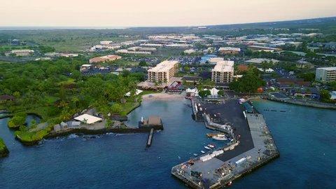 Flying over the famous Hawaiian Kailua-Kona city bay, USA