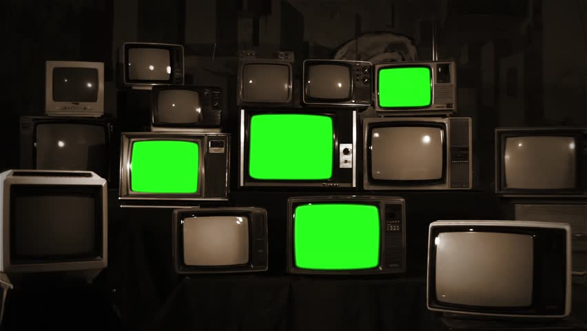 Aesthetic Televisions of the 80s with Green Screens. Sepia Tone. Zoom In. Ready to replace green screen with any footage or picture you want.  | Shutterstock HD Video #1010055344