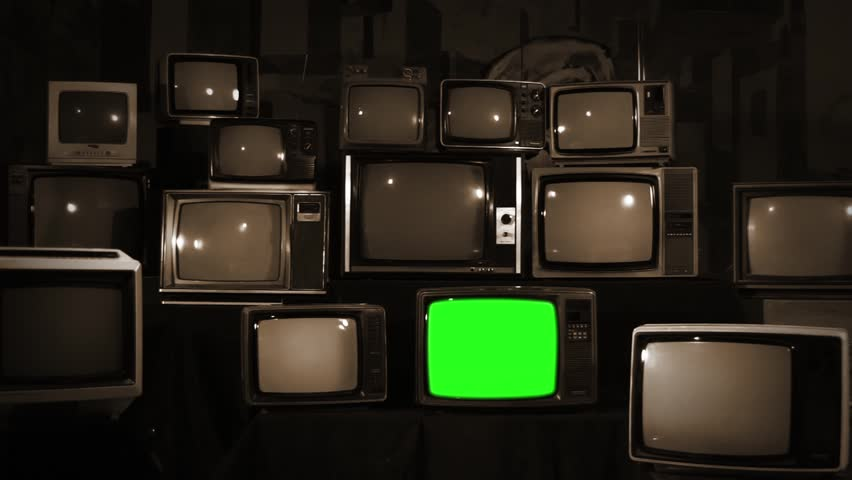Aesthetic Televisions of the 80s with Green Screens. Sepia Tone. Zoom In Fast. Ready to replace green screen with any footage or picture you want.  | Shutterstock HD Video #1010055374