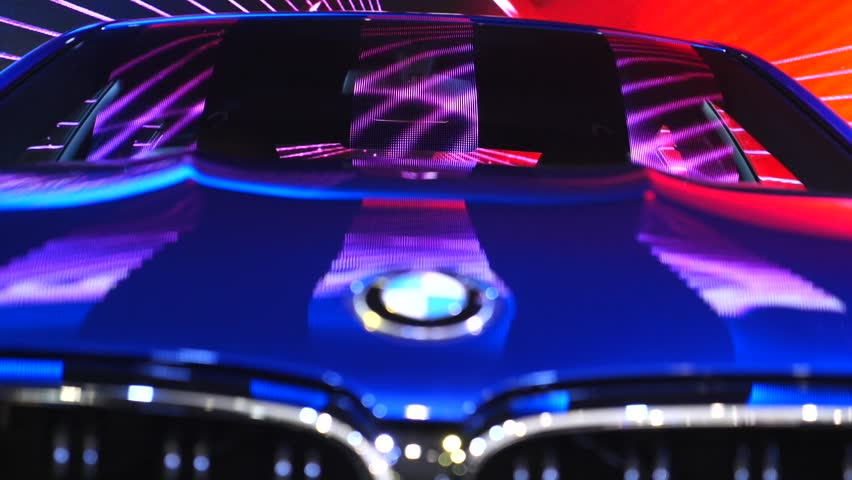 Closeup Of Illuminated BMW Car Displayed At Auto Show. Thailand, Bangkok - 08 April 2018.