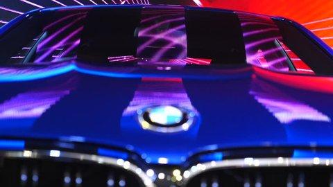 Closeup Of Illuminated BMW Car Displayed At Auto Show. Thailand, Bangkok - 08 April 2018.