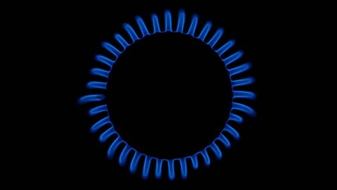 gas burner on a black background top view