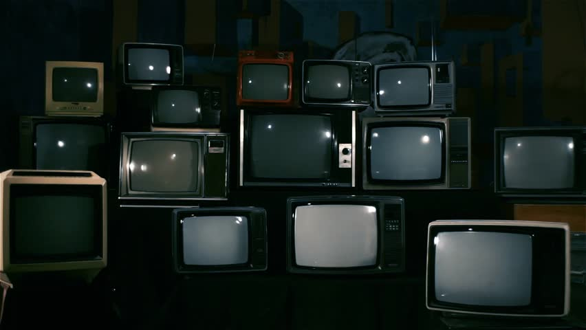 """4 Retro TVs Turning On Green Screen. Blue Steel Tone. You can replace Green Screen with any Footage or Picture you Want with """"Keying"""" Effect in AE (check out tutorials on YouTube). 