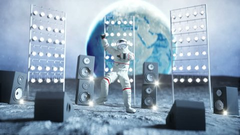 Funny astronaut dancing on the moon. Realistic 4k animation.