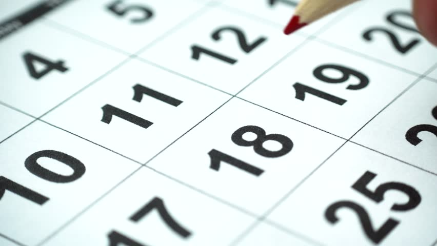 Marketing the date on the calendar, close-up, 4k