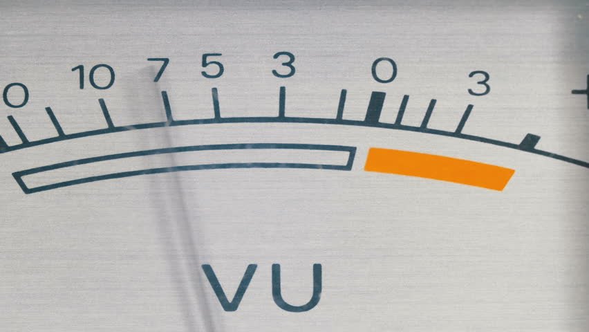 Analog signal indicator. Dial Indicator Gauge Signal Level Meter. Dial gauge modes Tape Recorder. Close-up. White of the pointer, black numbers, and arrow. | Shutterstock HD Video #1010111264
