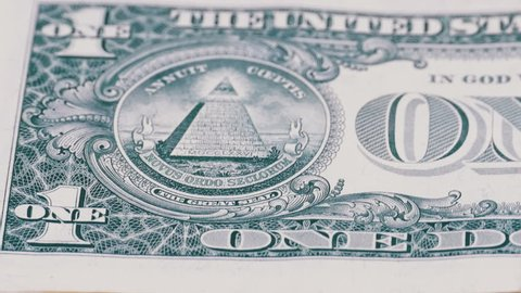 The reverse side of the dollar denominations of 1 dollar Rotate. Mason sign symbol. All seeing eye on the one dollar. New world order. Elite characters. 1 dollar.