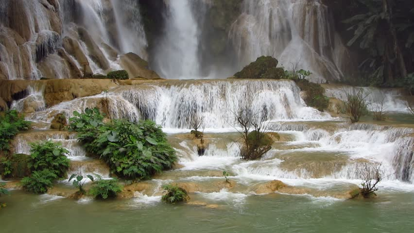 The beautiful Kuang Si Falls in Luang Prabang, Laos.