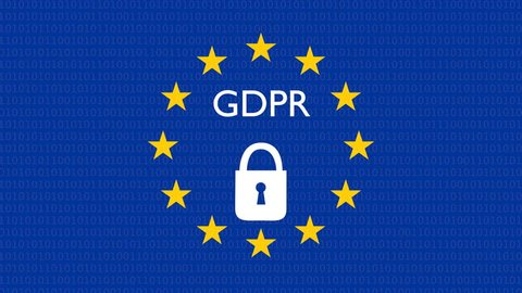 GDPR, DSGVO general data protection regulation concept. 3D rendering, variant with lock locking, UHD