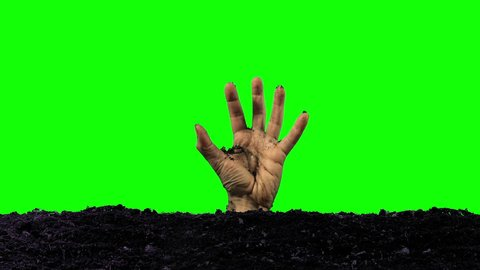 Zombie Hand reaches out of the Grave (Green Screen)