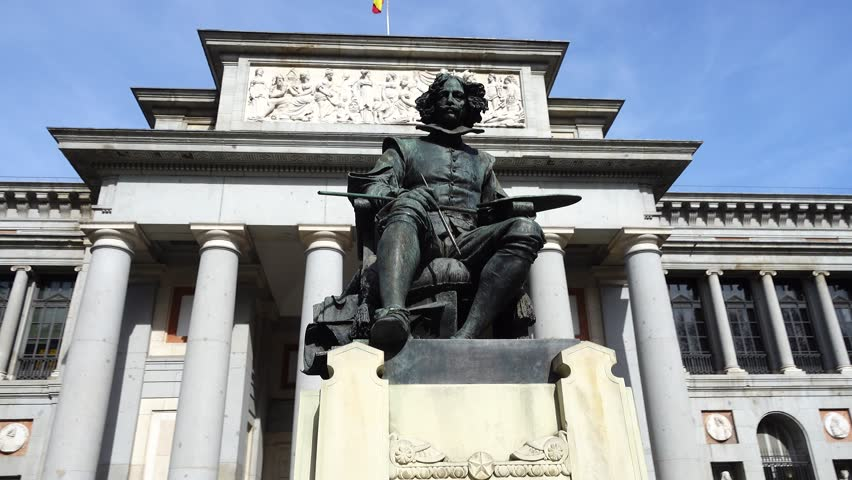 Prado Museum. The bronze statue of Diego Velazquez in Madrid, Spain