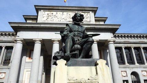 Prado Museum. The bronze statue of Diego Velazquez in Madrid, Spain
