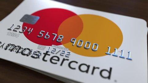 Plastic card with logo of Mastercard. Editorial conceptual 3D animation