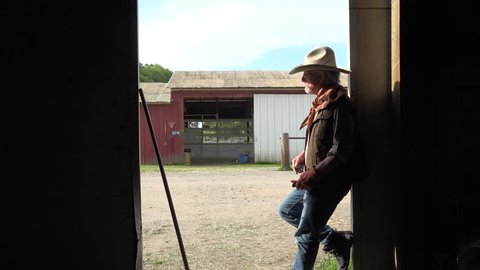 Rancher and farmer working in the barn doing clean up. Man wearing cowboy hat silhouette near the barn door.