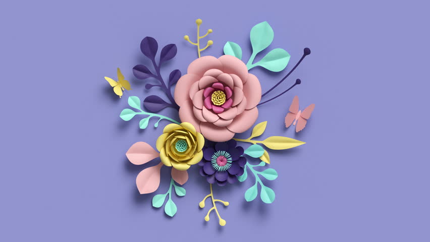3d rendering, growing floral background from paper flowers, blooming botanical pattern, bridal round bouquet, papercraft, candy pastel colors, bright hue palette, 4k animation