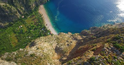 aerial Butterfly Valley Turkey, Fethiye Mediterranean beach and valley by sea