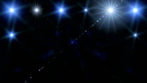 Spectrum lights Concert Spot Bulb,Fractal blue kaleidoscopic background,Disco spectrum lights concert spot bulb,Background blue motion with fractal design on black background,Light Tunnel Seamless art