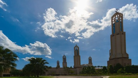 Timelapse of blue sky over Johor Mosque during daytime at Nusajaya, Johor Bahru.