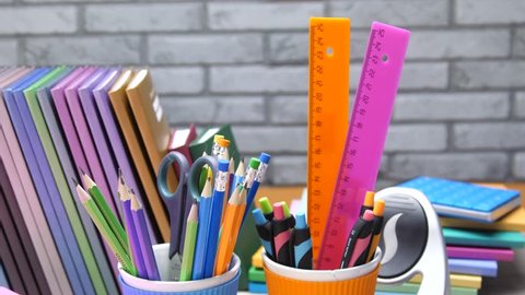 stationery for school and office. notebooks, pencils, pens, rulers