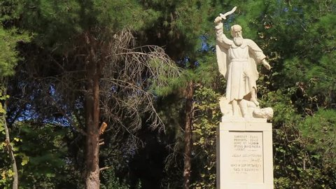 Elijah monument at Mt Carmel to commemorate his fight against Baal priests reported in the Old Testament