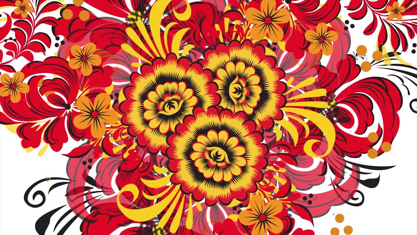 Painting Khokhloma Russia of bright red flowers and berries on white background. Abstract fractal transformation background. Red Khokhloma on a white background