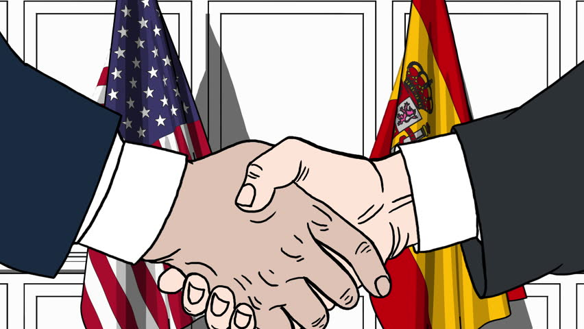 Businessmen or politicians shaking hands against flags of USA and Spain. Meeting or cooperation related cartoon animation | Shutterstock HD Video #1010388854