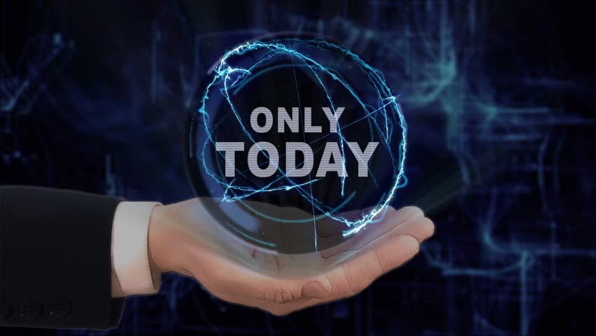 Painted hand shows concept hologram Only today on his hand. Drawn man in business suit with future technology screen and modern cosmic background