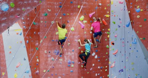 Rear view of men and woman practicing rock climbing in fitness studio 4k