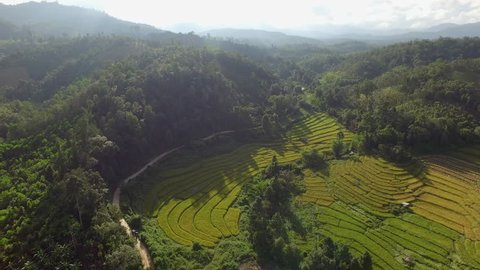 Aerial video in an amazing landscape, with drone,Fields and mountains.thailand
