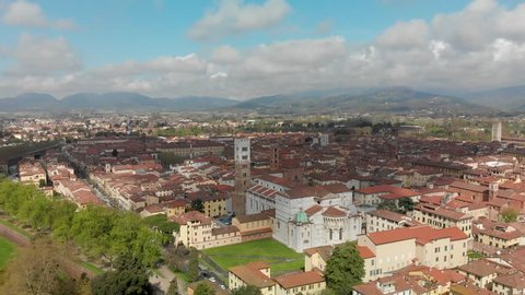 Lucca aerial view with San Martino cathedral, Tuscany.