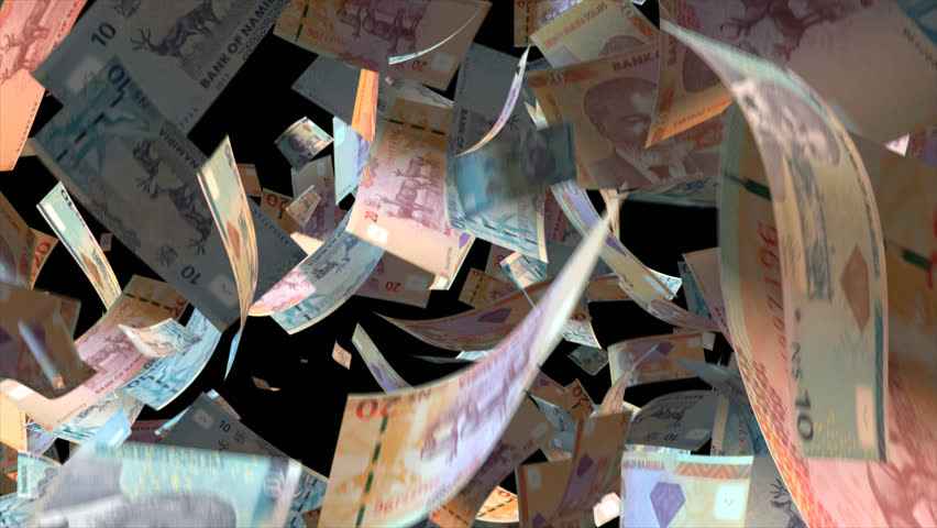 Falling Namibia  money banknotes Video Effect simulates Falling Mixed Namibia  money banknotes with alpha channel (transparent background) in 4k resolution  | Shutterstock HD Video #10104704