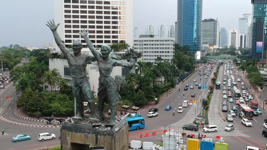 Ungraded Aerial Footage of Selamat Datang Monument in Jakarta, Indonesia. | Shutterstock HD Video #1010509394