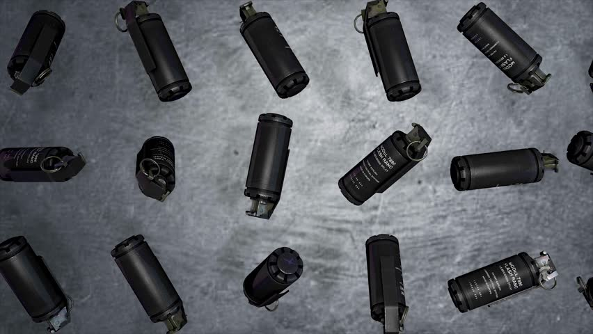 Grenades on a gray background levitation of standard timed fuze hand grenades. Tear-gas hand grenades rotation on grey background
