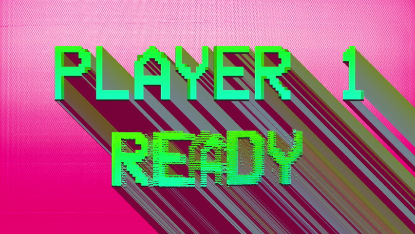 Player 1 ready words from retro computer arcade game   Shutterstock HD Video #1010531504