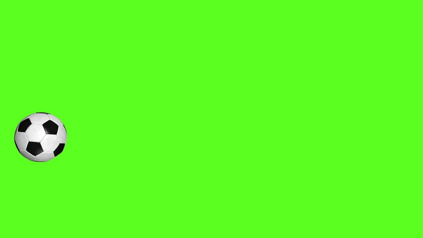 Football 3D Animations of Soccer Flying Ball on Green Chroma Key. #1010538074
