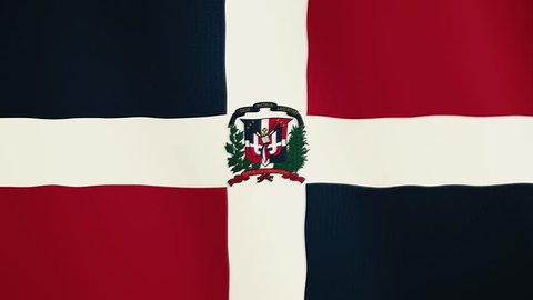 Dominican Republic flag waving animation. Full Screen. Symbol of the country.