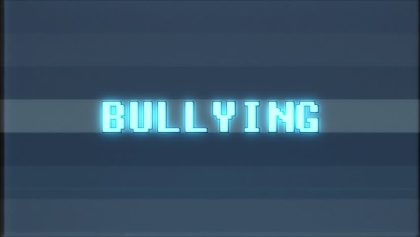 Retro videogame BULLYING word text computer old tv glitch interference noise screen animation seamless loop New quality universal vintage motion dynamic animated background colorful joyful video | Shutterstock HD Video #1010553674
