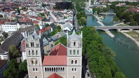 Church aerial drone view next to river Isar in Munich Bavaria, Germany