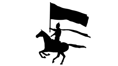 Silhouette of a horseman with a flag. Alpha channel. Alpha matte. FullHD.