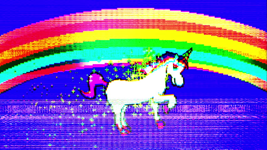 Flickering glitch retro style unicorn pixel art