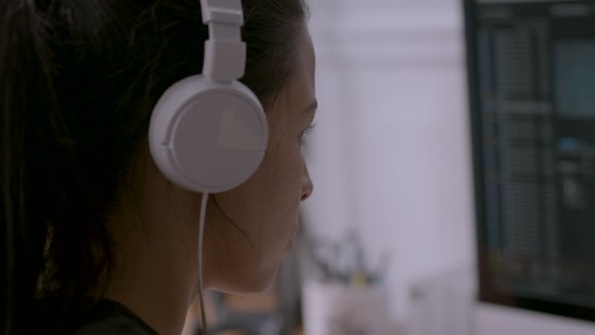 Close up of female thinking intensely while working at computer HD stock video. Alexa camera