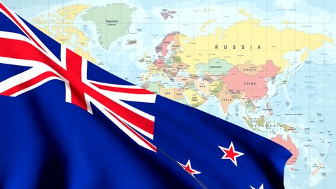The waving flag of New Zealand opens up the view to the position of New Zealand on a colored world map