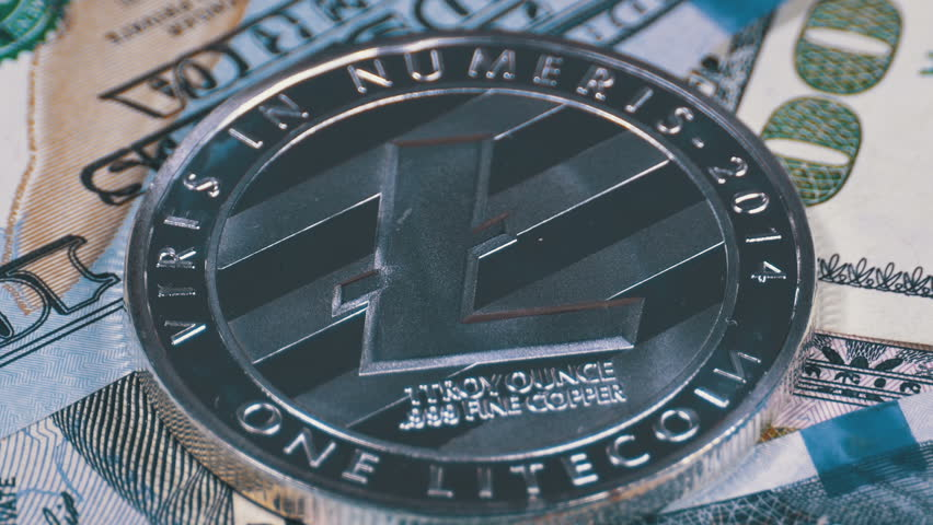 Silver Litecoin Coin, LTC and Bills of Dollars are Rotating. Crypto Currency Close-up. Macro. Dollar banknotes of various denominations on which lies the cryptocurrency. | Shutterstock HD Video #1010642744
