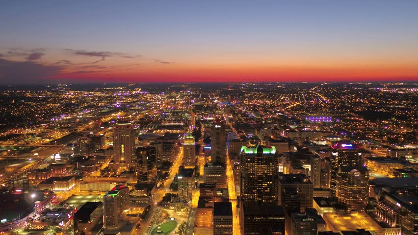 Aerial Missouri St Louis July 2017 Sunset 4K Aerial video of St Louis in Missouri during a beautiful sunset. | Shutterstock HD Video #1010660294