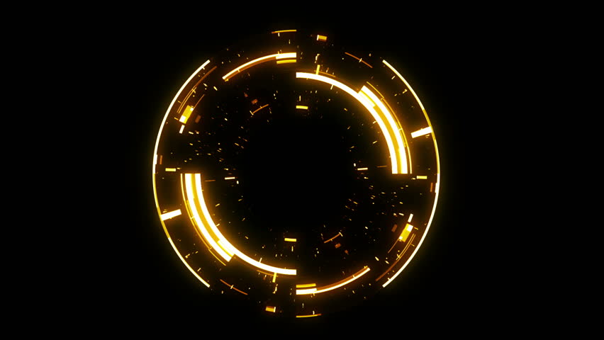 Abstract neon background. Shine ring. Halo around. Sparks particle.  Space tunnel. LED color ellipse. Glint glitter. Shimmer loop motion.  Empty hole. Glow portal. Hot ball. flickering spin.