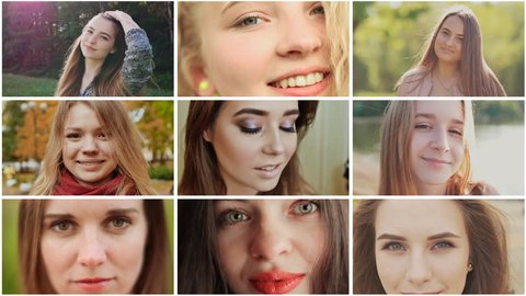 A collage of nine young beautiful girls of Russian Slavic appearance.
